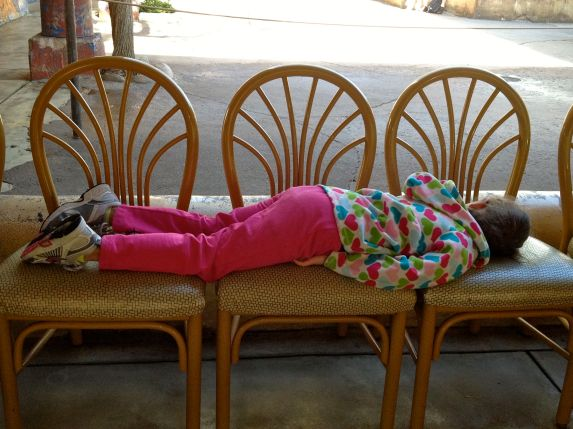 """Planking"" at Disney... otherwise known as crashing before brunch"
